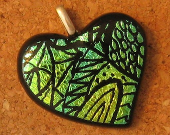 Zen Tangle Dichroic Heart Pendant Fused Glass Heart Dichroic Jewelry Fused Glass Jewelry