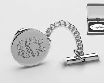 Personalized Tie Pin, Monogrammed Tie Tack, Silver Tie Pin, Engraved Tie Pin, Wedding Gifts, Engraved Groomsmen Gifts - Buy 6, Get 7th Free