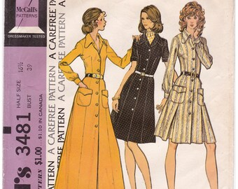 FF 1970s McCalls 3481, Plus Size Button Front Dress Dog Ear Collar Vintage Sewing Pattern, Size 16 1/2, Bust 39, UNCUT