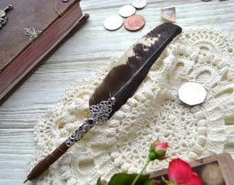 Raven's Wing, Pen PEARL, Steampunk pen, Quill Pen with Ballpoint Pen, Black Pen, Quill Feather Pen, leather pen