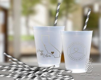 Frosted Cups | Personalized Wedding State Cup | Monogrammed Cups | City Heart | social graces Co.