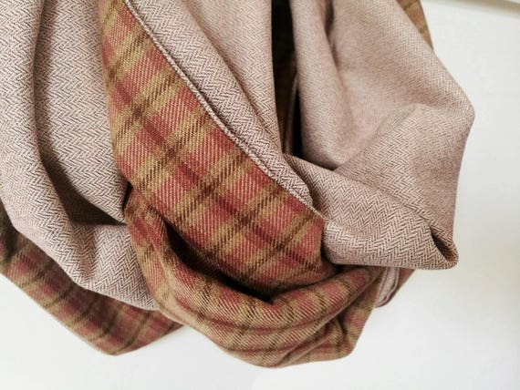 CHUNKY PLAID SCARF, beige infinity scarf, blush pink infinity scarf, pink circle scarf, brown cowl scarf, gift idea for her