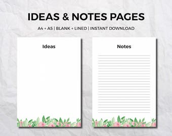 Printable planner pages - Planner note pages - Planner printables - A5 note pages - A4 note pages - Notes and ideas pages