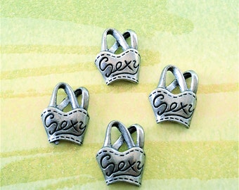 Sexy Halter Top/Clothing Charms  --4 pieces-(Antique Pewter Silver Finish)--style 867-Free combined shipping