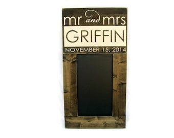 Wedding Chalkboard Large Rustic Wood Framed Personalized Gift Wall Decor - Family Name with Date (#1264-CB)