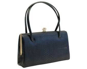 Vintage, Green Leather Handbag, Top Handle Bag, Purse 1950's