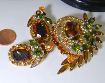 Vintage Juliana Watermelon Amber Green  Brooch Pin Earrings Set Rhinestones Beautiful 3x2 Inches Large Statement Piece
