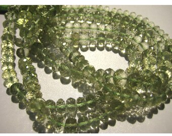 Green Amethyst, Micro Faceted Rondelles - 8mm Beads - 10 Inch Strand - 40 Pieces Approx