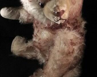 """Antique / vintage German teddy bear, Sonneberg Teddy, Germany, circa 1950s, mohair teddy, sprayed mohair, 44cm /17.3"""""""