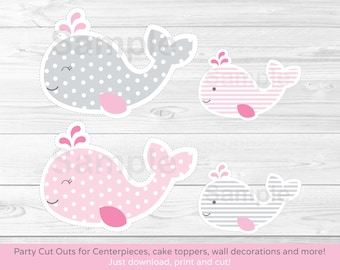 Pink Whale Cut Outs / Whale Centerpiece / Wall Decor / Party Decor / Printable INSTANT DOWNLOAD A399