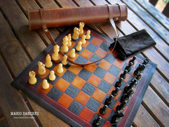 20 51cm Rollup Portable Leather Chess Set