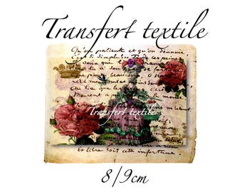 Transfer textile vintage Marie Antoinette retro on manuscript 6.5 / 8cms