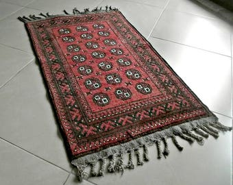 AFGHANI Wool Geometric Rug, Handwoven Rug 60s, Red Tribal Rug, Turkish Kilim, Small Antique Rug, Boho Rug, Wall Rug  20x40inch / 60x100cm