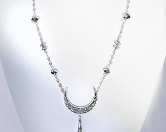 "SAILOR MOON Delux ""Silver moon crystal"" necklace with Swarovski crystal elements by Selene de Viollet"