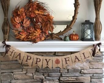 Fall Decor,Happy Fall Burlap Banner,Fall Burlap Banner, Fall Banner, Fall Decorations for Mantel, Fall Decorations for Fireplace #0166