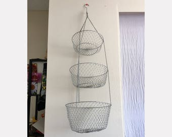 Vintage 3 Tier Wire Basket - Large Hanging Kitchen Basket - Silver Mesh Fruit Basket - Rustic Farmhouse Kitchen Baskets Storage