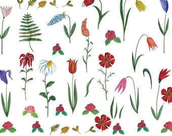 My Garden Flowers - Ceramic Decals- Enamel Decal - Fusible Decal - Glass Fusing Decal ~ Waterslide Decal - 70035