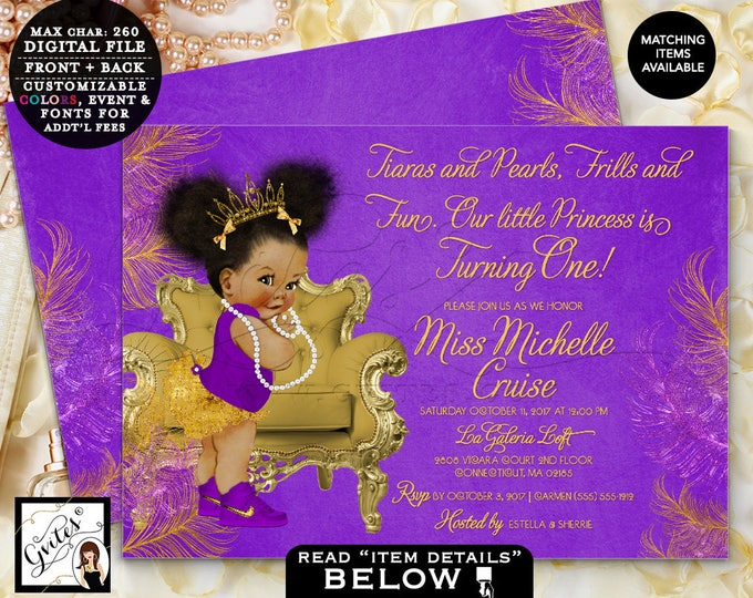 Purple & Gold First Birthday Invitation, Princess African American Baby Girl, Afro Puffs Gold Tiara, Double sided, 7x5 Gvites