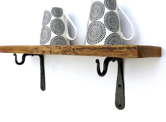 2 Mini Shelf Brackets Wrought Iron Hook Kitchen Utensil Mug