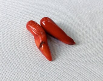 Red Coral Spike Stones - 2 pcs