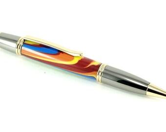 Handmade Wooden Pen - Ballpoint Pen Sierra Elegant in Multicolor Acrylic and Black Titatium & 22k Gold, Handcrafted Pen, Pen Gift, Pen