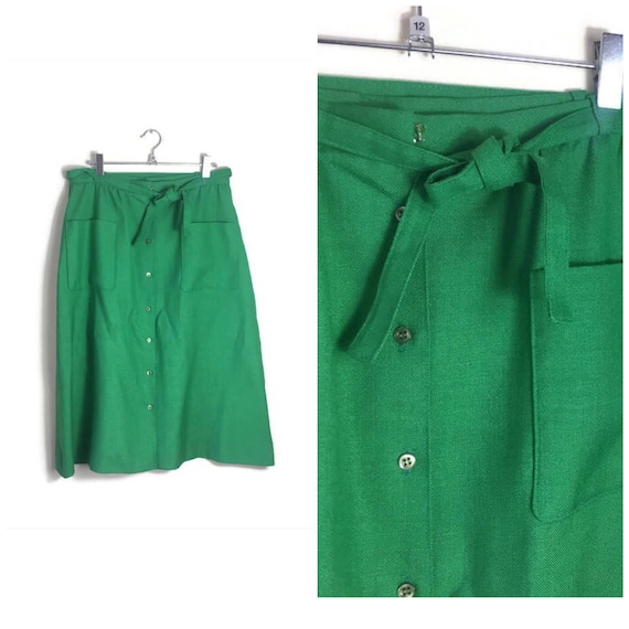 Vintage apple green skirt / 80s button up A line skirt / linen green skirt / windsmoor vintage skirt / mid length A line pencil skirt