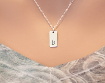 Lowercase Initial B Bar Necklace, Sterling Silver Small Letter B Charm Necklace, Engraved Initial B Pendant Necklace, Personalized Initial