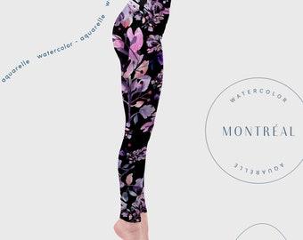 Black high waisted Leggings. dark bold leggings. hand painted yoga tights. romantic floral yoga wear. yoga tights. Printed leggings