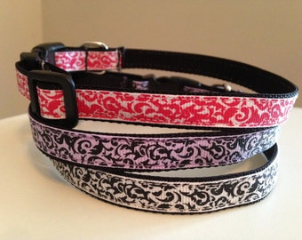 1/2 inch Small Damask Dog Collar in Hot Pink, Lavender or Black and White