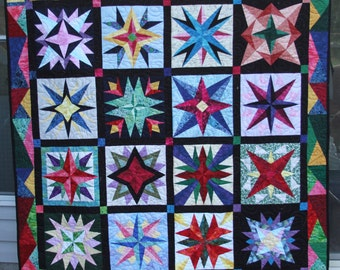 """Wall hanging, sofa throw, art quilt,  65"""" x 65"""" modern colors, paper pieced"""