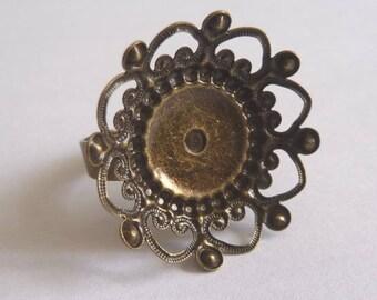 Antique bronze 25 mm Adjustable ring blank