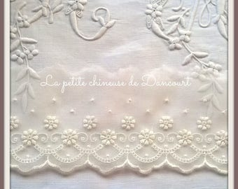 Broderie Anglaise on gauze Ribbon