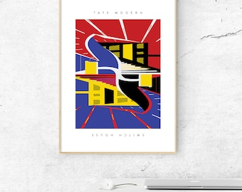 Tate Modern Switch House Illustrated Art Print. Matte & Giclee Art Prints in A3 or A2 sizes.  Home Decor, Prints of London