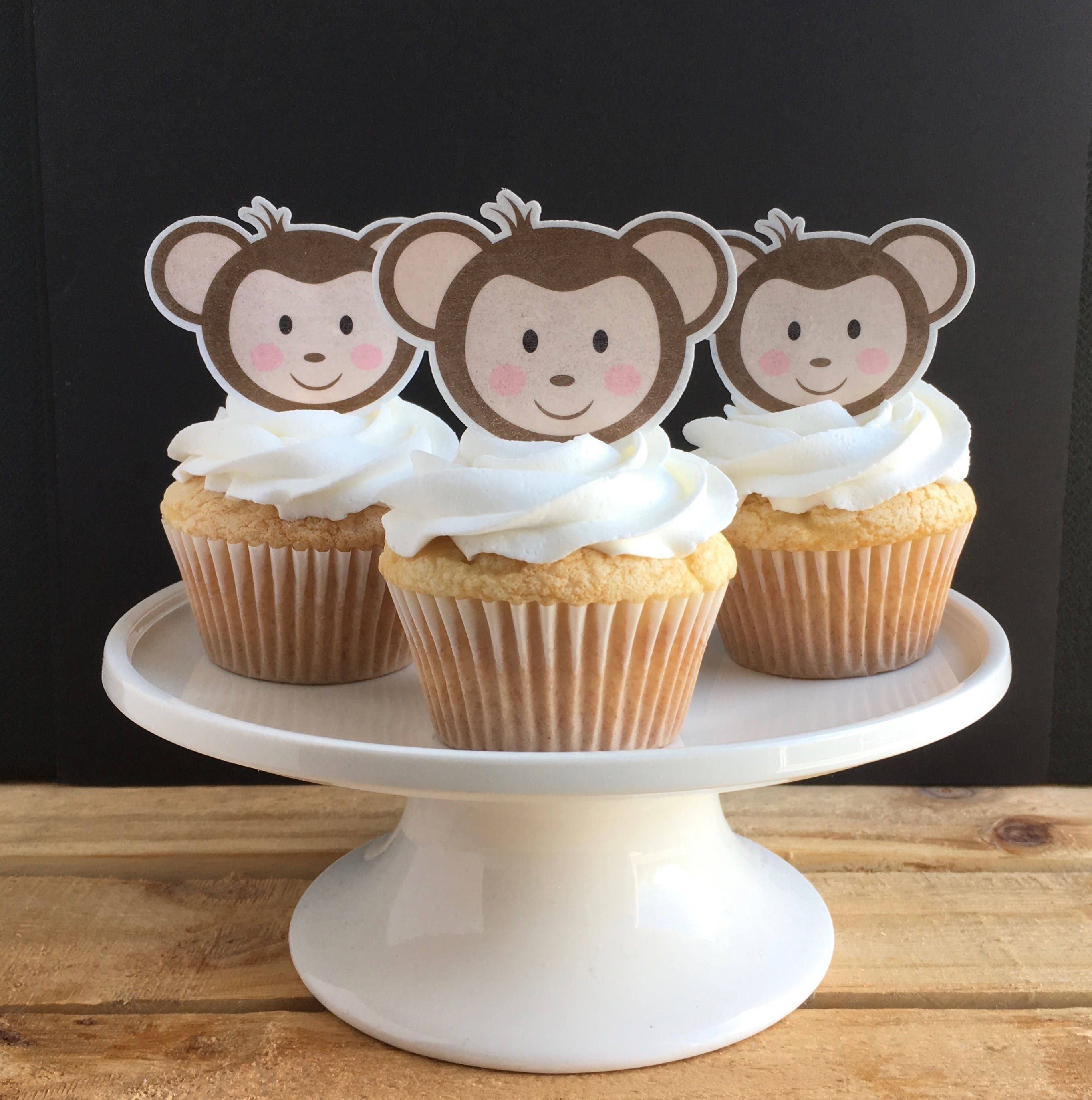 Monkey Cupcake Toppers Thin Edible Paper Cupcake Topper