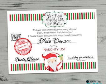 Elf warning letter etsy personalised naughty list certificate naughty letter from santa warning from santa spiritdancerdesigns Image collections