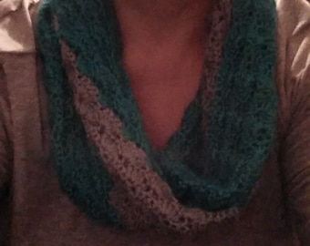teal and grey cowl