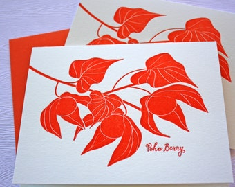 Poha Berry Letterpress Stationery Hawaii Greeting Cards Orange-Red
