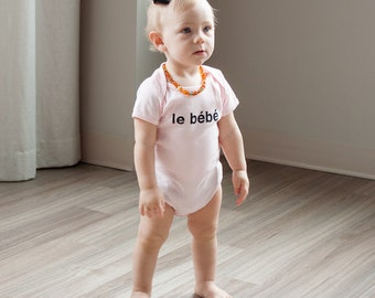 Le Bebe French Baby Bodysuit, French Baby, Hipster French, Short Sleeve Baby Bodysuit, Hipster Baby, Graphic, Baby Girl, Infant One-piece
