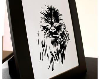 Star Wars Chewbacca Fine Paper-cut Art Framed.