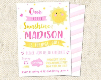 You are My Sunshine Birthday Invitations, sunshine invitation, sunshine invite, sunshine birthday party, little sunshine invitations