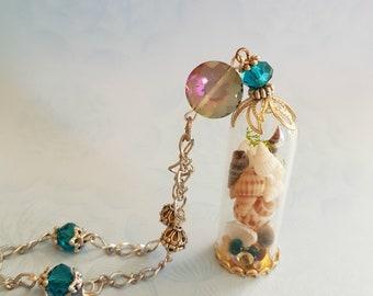 Mermaid's Treasure Terrarium Pendant Necklace
