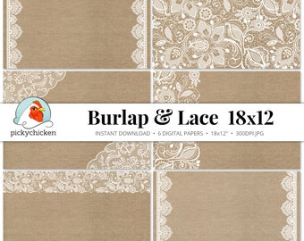 Burlap & Lace Digital Paper 18x12 - rustic printable placemat wedding country shabby chic 11x17 12x18 30.5x45.7cm photography backdrop 7004