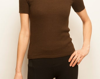 Courrèges 1970's brown simple little sweater
