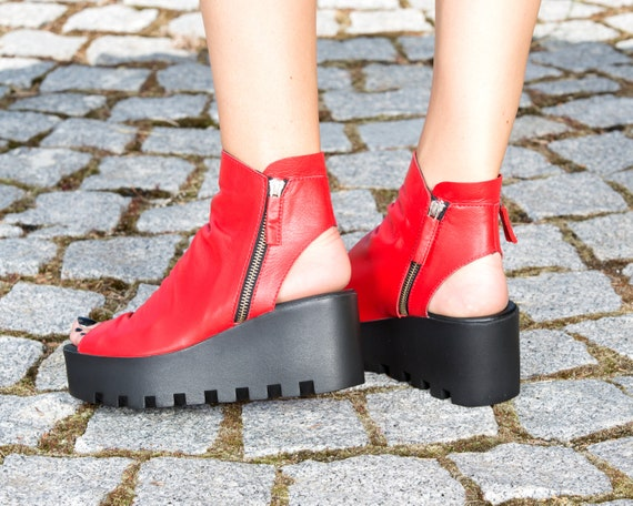 must leather boots summer genuine red summer platform wedges red boots red genuine espadrilles leather leather have wedges nBCY8