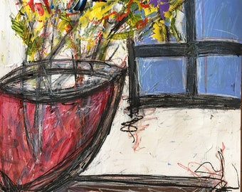Flowers by the Window 1. Work on paper. 24x18