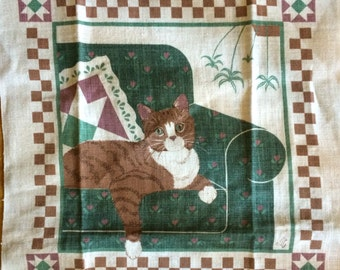 1990 Orange Cat Quilt Block Design Linen Tea Towel Art to Frame Upcyle Project Vintage Calendar Tabby Tiger Kitty Stripped Cat Lover Gift