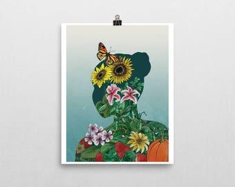 GROW Botanical Art Print Unframed