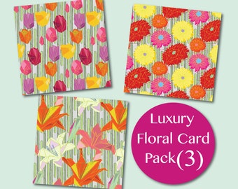 Geometric Floral Card pack (3)