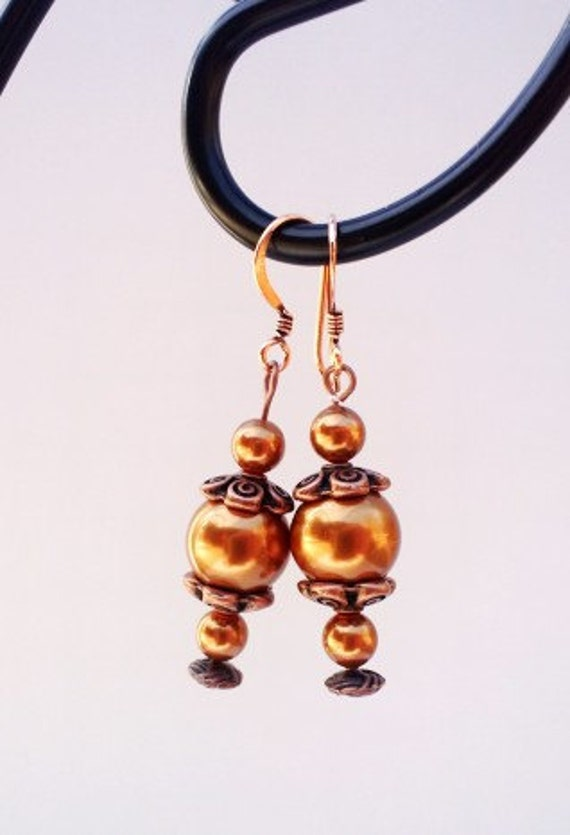 Copper Earrings, Dangle Earrings, Long Copper Earrings