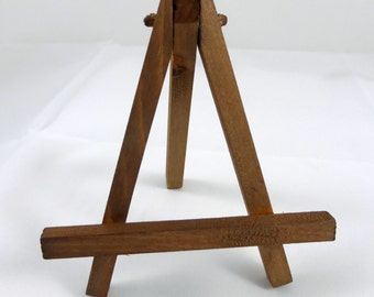 Rustic Brown Easel, Small Hand Stained Mini Wood Easel for Miniature Art and Small Tabletop Display Signs
